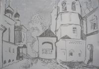 Монастырский дворик. 41х47. 2013 г.